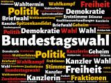 Bundestagswahl - Bilder mit Wörtern aus dem Bereich Bundestagswahl, Wortwolke, Würfel, Buchstabe, Bild, Illustration