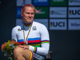 PIETERMARITZBURG, SOUTH AFRICA - AUGUST 31: World Champion Christiane Reppe (GER) vom GC Nendorf/Niedersachsen [Paralympische Klassifikation: H4-Handbike] in tears at the Time Trial Track during Day-1 of the UCI Para-Cycling Road World Championships 2017 on August 31, 2017 in Pietermaritzburg, South Africa.  (Photo by Oliver Kremer/Photo © 2017 Oliver Kremer | http://sports.pixolli.com)